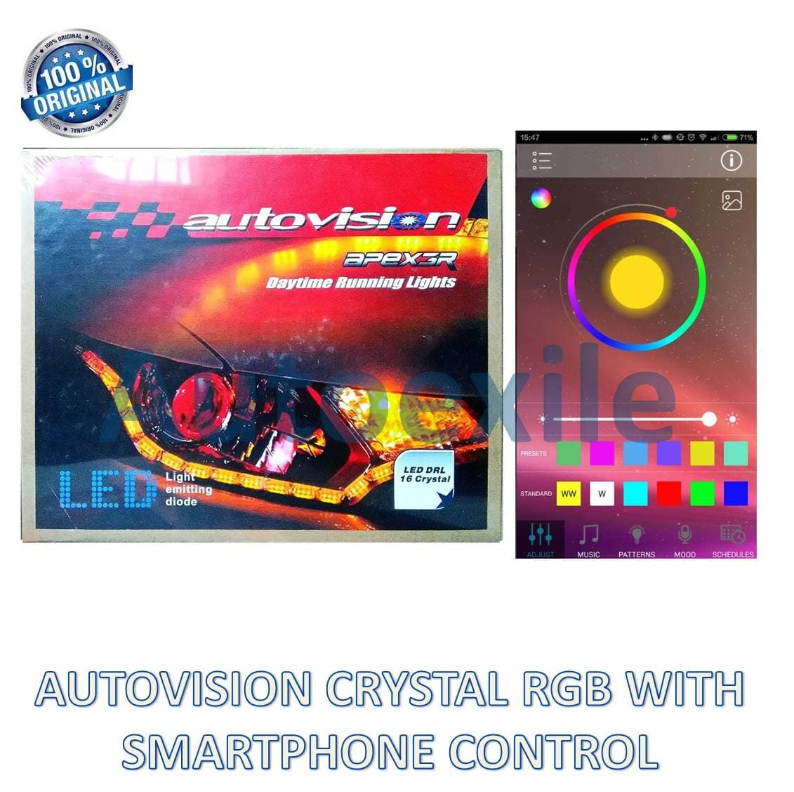Autovision APEX3R LED DRL 16 Crystal RGB Color Smartphone Custom Warna Mode Lampu Alis Mobil