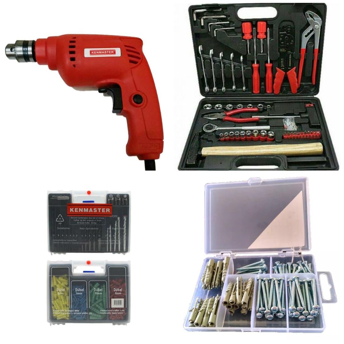 Paket Kenmaster Mesin Bor Bolak Balik + Mata Bor Set & Tool Kit + Sekrup ...