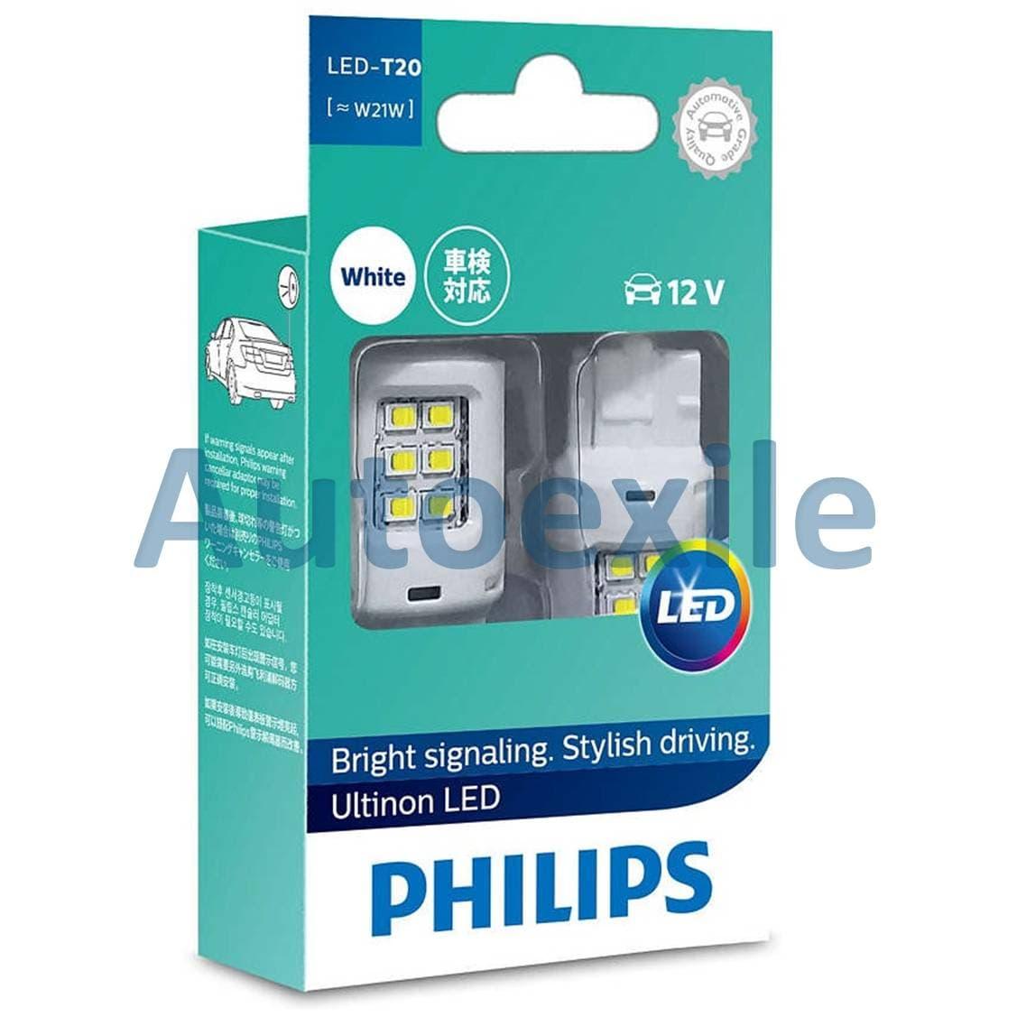 Jual Philips Ultinon Led T20 W21w W21 12v Cahaya Putih Untuk Lampu Rem Pencuci Mesin Cuci Senja Mundur Mobil