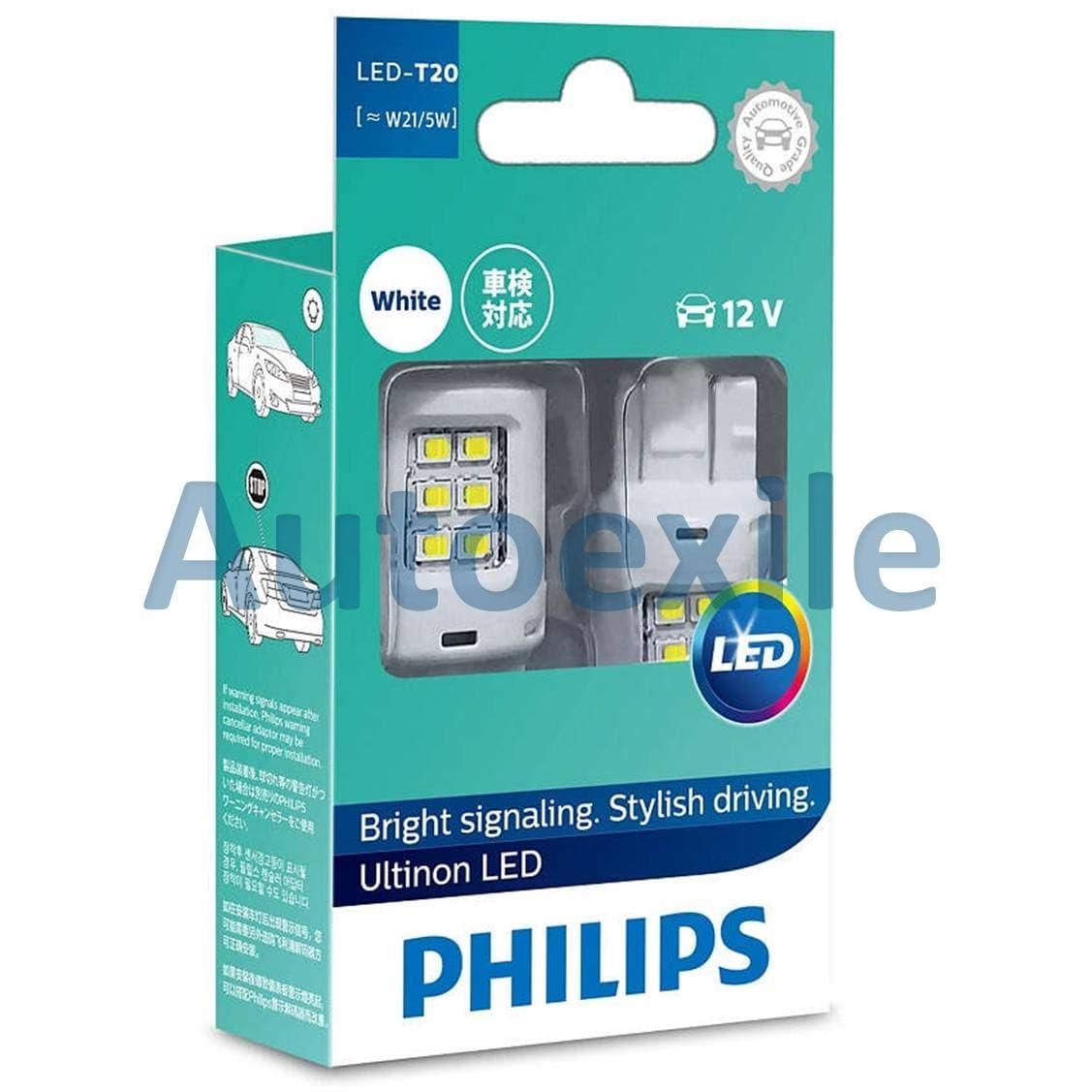 Philips Ultinon LED T20 W21/5W T20D 12V Cahaya Putih Untuk Lampu Rem Mika Merah Mobil