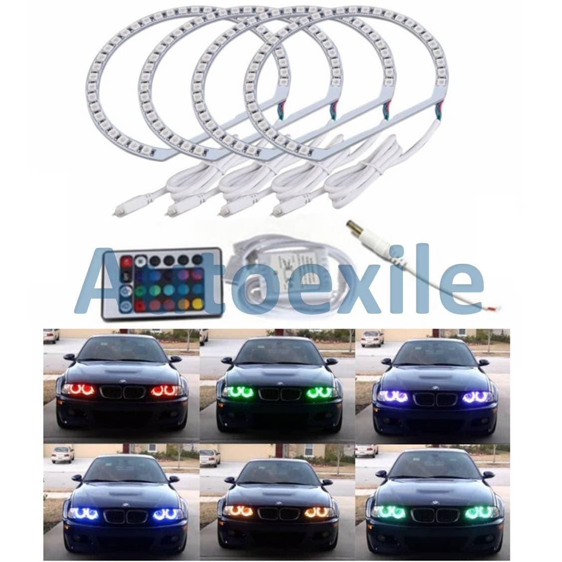 Angel Eyes Halo Ring DRL LED RGB Lampu Cincin Warna Warni BMW E36 E38 E39 E46 3 5 7 Series Eye Rings