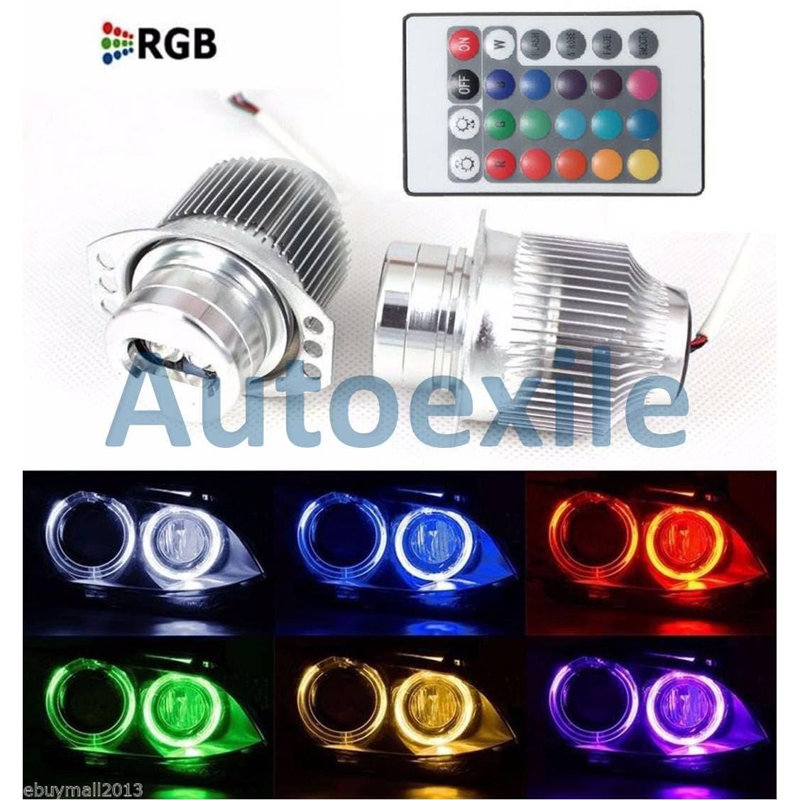 Angel Eyes LED RGB Putih Lampu Bimmer Warna Warni Mobil BMW E90 E91 2005 - 08, 3 Series LCI 2009 Remote