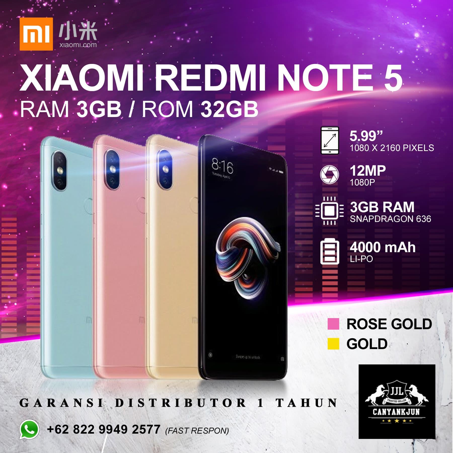 Jual Xiaomi Redmi Note 5 Ram 3gb Rom 32gb Garansi Distributor 1 S2 Gold 3 Gb 32 Tahun Brand New In Box Emas Canyankjun Tokopedia