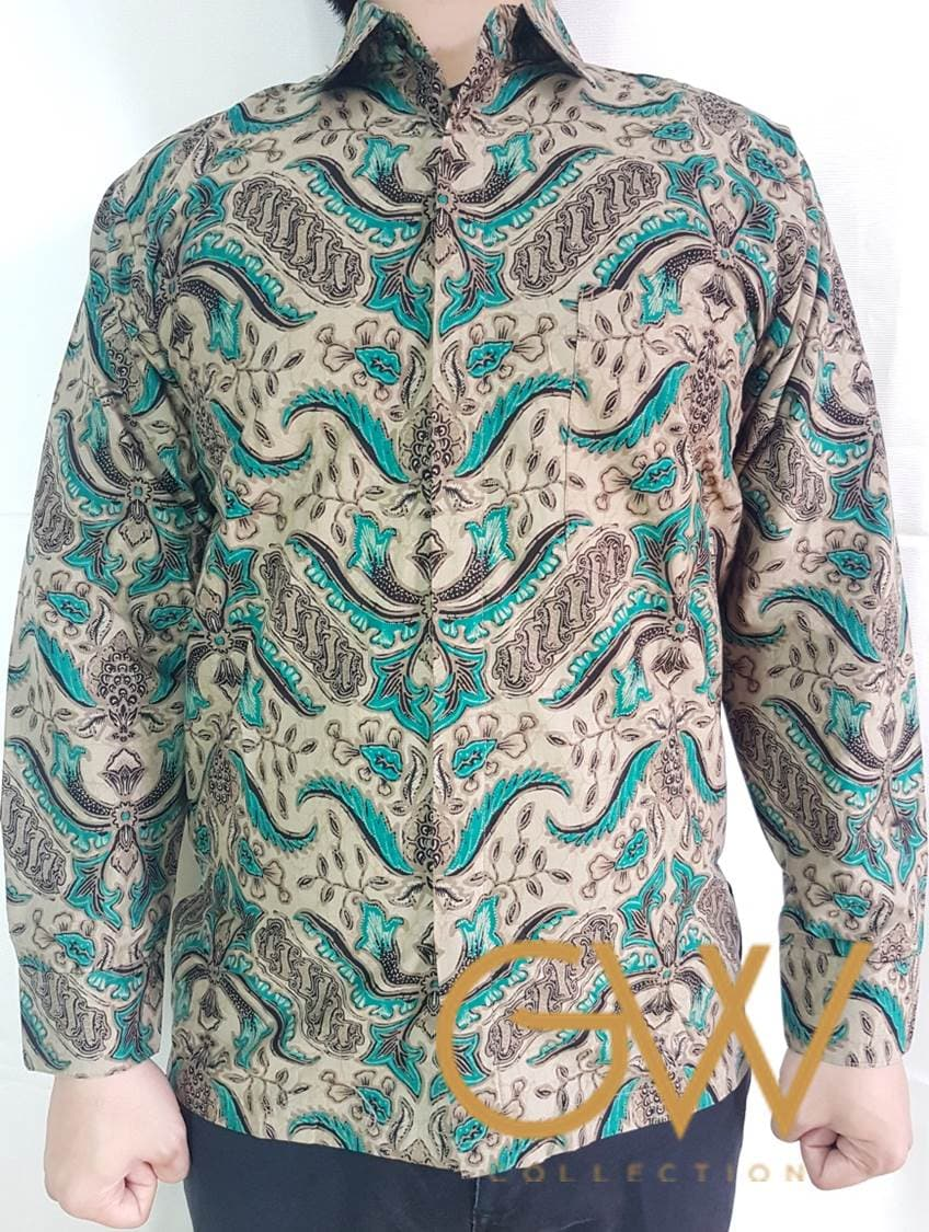 Jual Batik Solo Pisan Bali Lengan Panjang Abu Muda Xl Mutif M133 Atasan Dewasa Hitam Misty Blanja