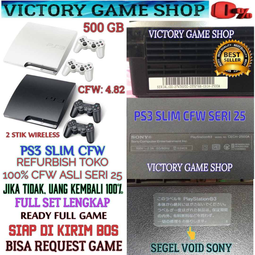 Promo Harga Ps 3 Slim Cfw Terbaru 2018 Refurbish 20xxx 480 Hdd 120gb 500gb External Jual Sony Ps3 Seri 25xx Free Request Game Sampai Penuh Putih