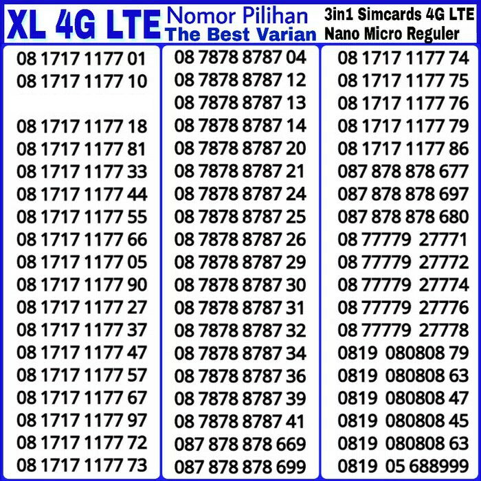 Nomor Cantik Perdana XL AXIATA Super ABAB-CDCD XX .