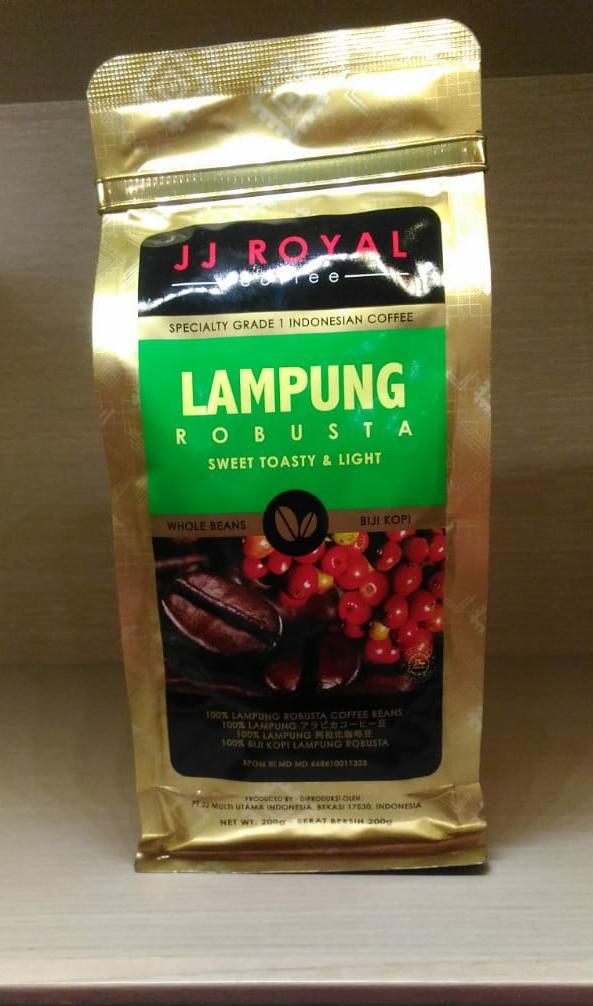 JJ ROYAL COFFEE LAMPUNG ROBUSTA BEAN BAG 200gr