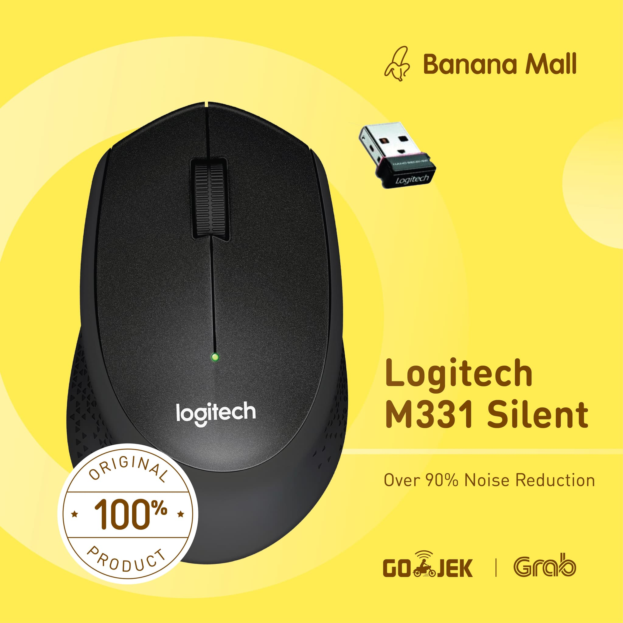 Jual 100 Original Logitech M331 Silent Plus Wireless Mouse Banana Cordless Mall Tokopedia