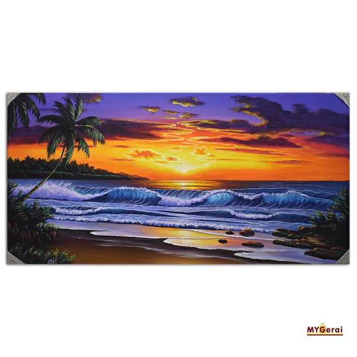 Jual Lukisan Pemandangan Pantai Nuansa Sunset Mygerai Tokopedia
