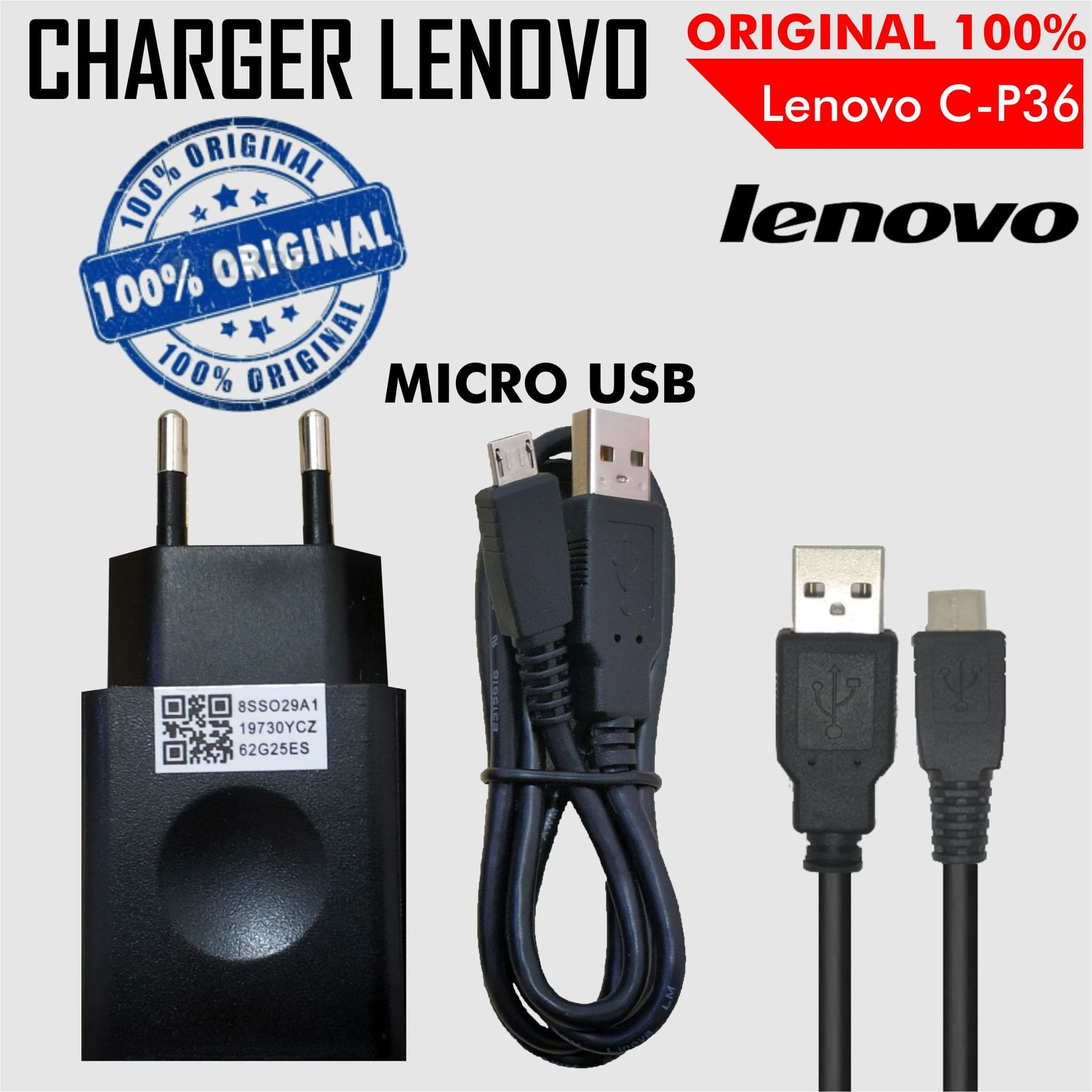Jual Charger Lenovo C P32 Output 2A with Micro USB Cable Original lapaklama