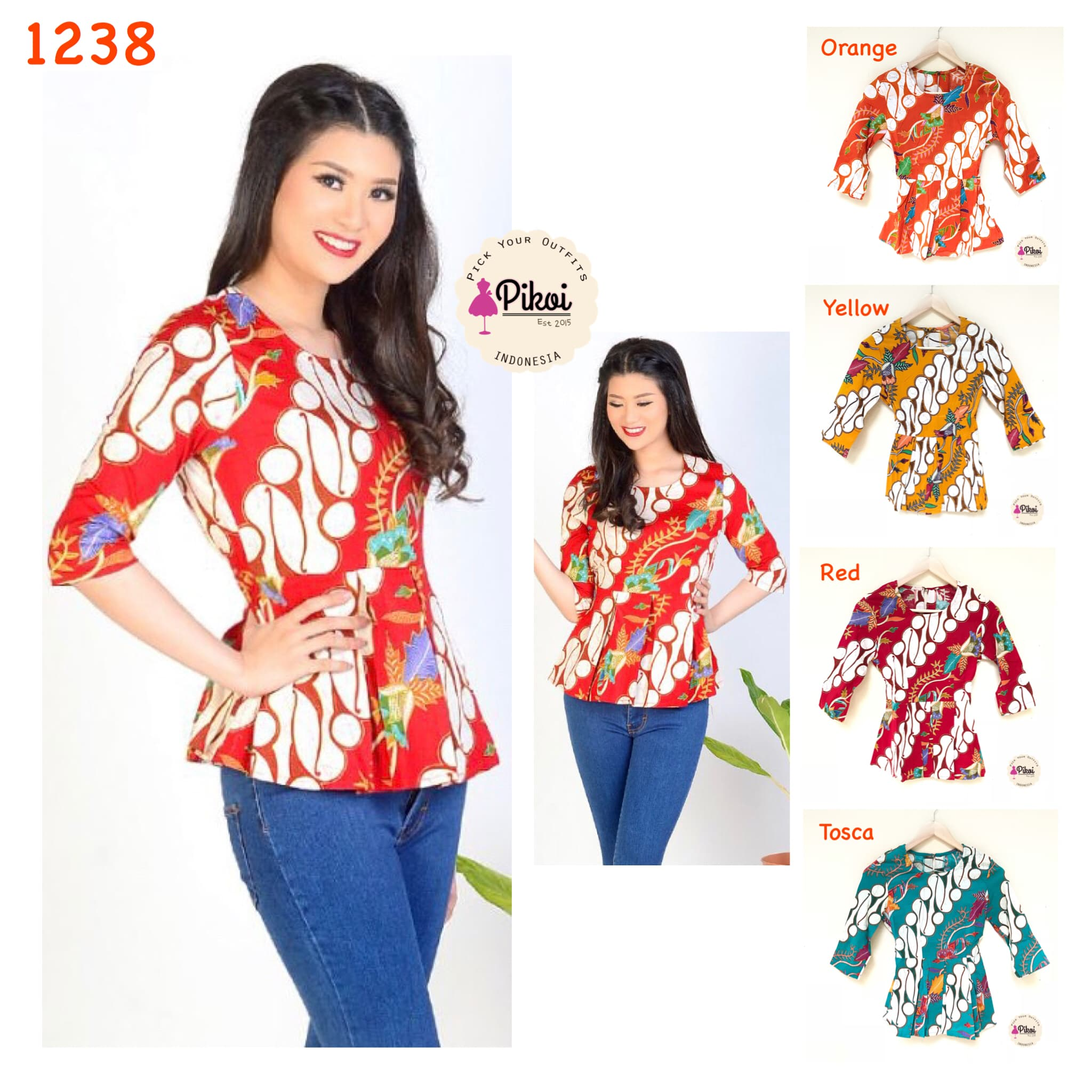 Baju Batik Batik Wanita Modern 7 8 atasan peplum kantor kerja