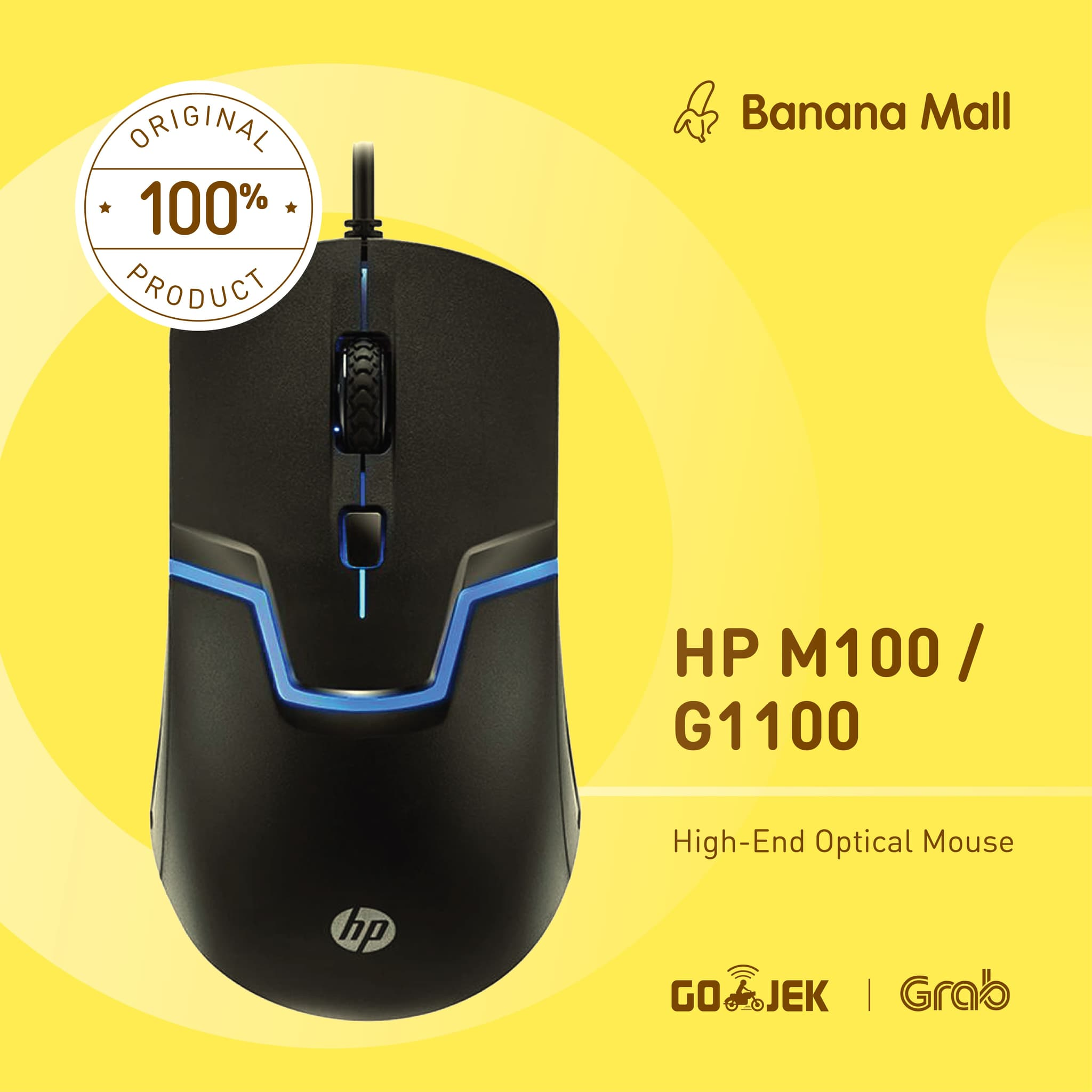 Jual 100 Original Hp Gaming Mouse M100 G1100 Banana Mall Tokopedia