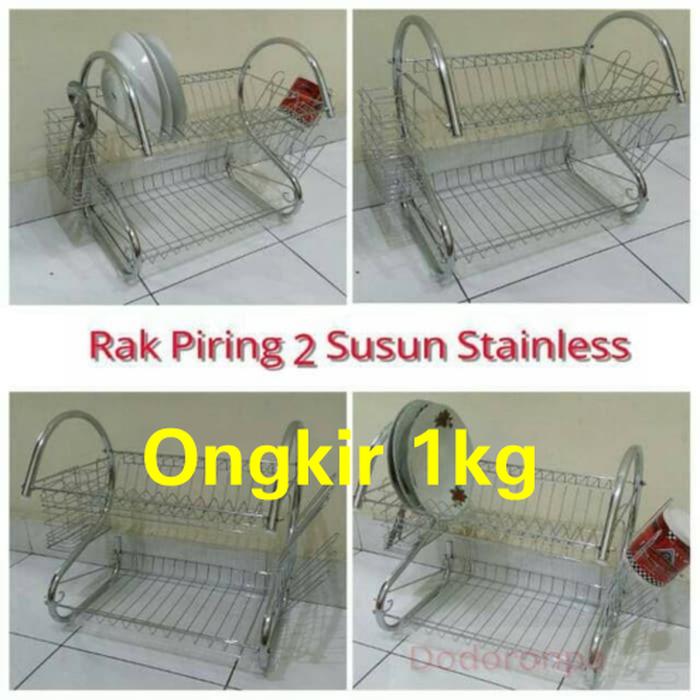 Rak Piring Stainless 2 Susun / Dish Drainer