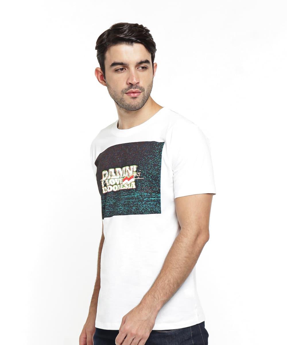 Jual Damn I Love Indonesia Kaos Pria Glitch White Putih Lover Graphic T Shirts L