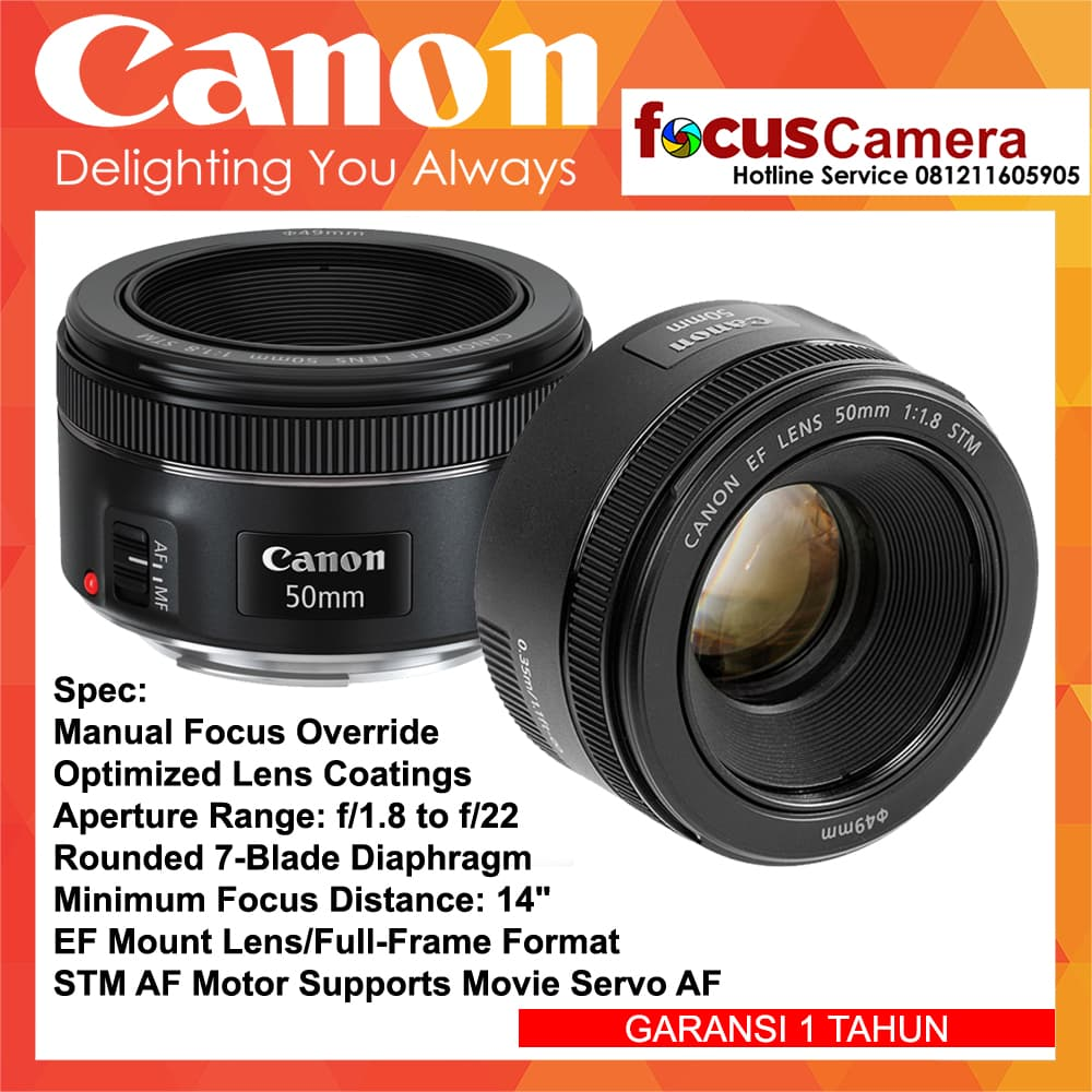 Jual Lensa Canon Ef 50mm F 18 Stm Garansi 1 Tahun Focus Camera Tokopedia