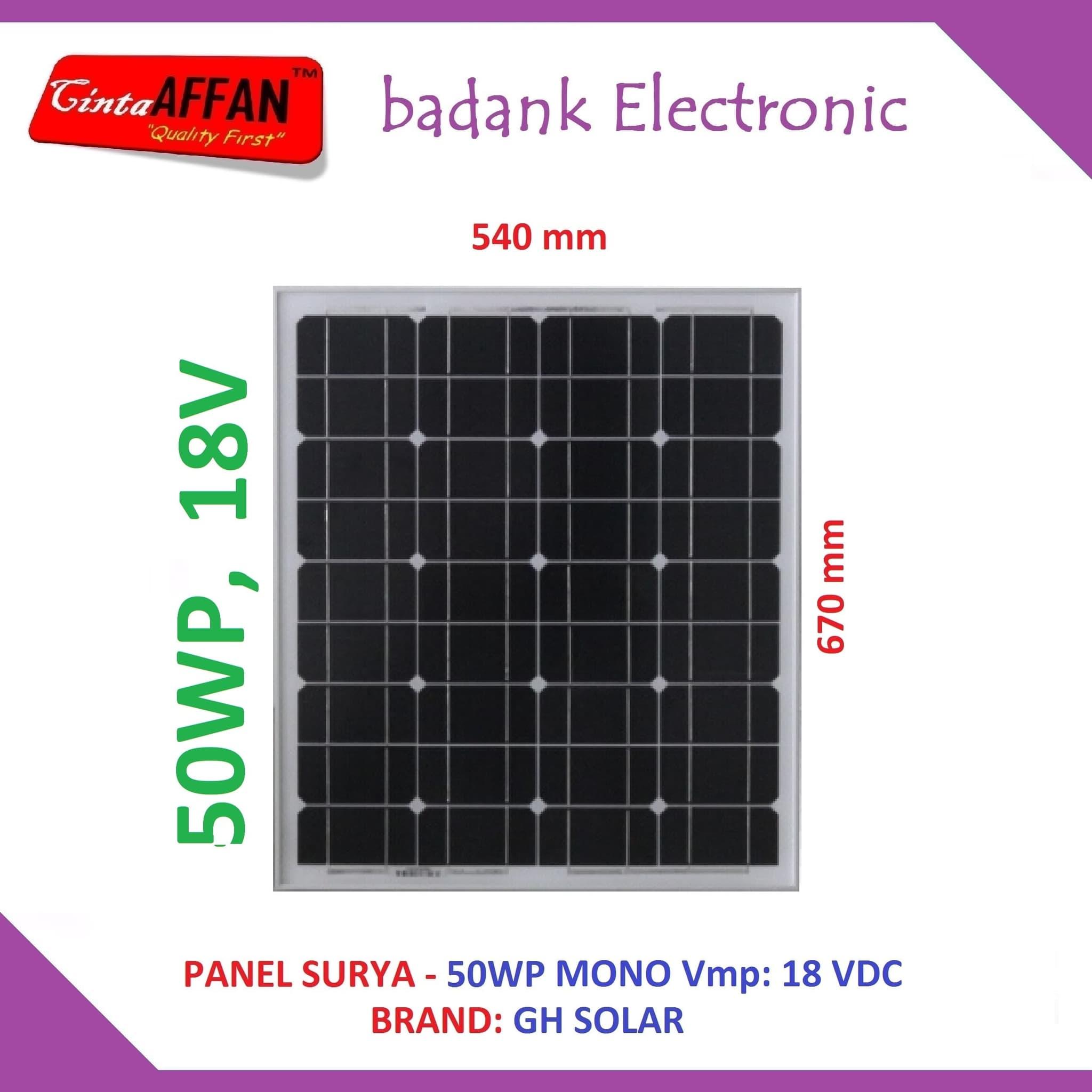 Jual Panel Surya 50Wp MONO - Solar Panel 50 Watt PV 50 Wp - badank Electronic