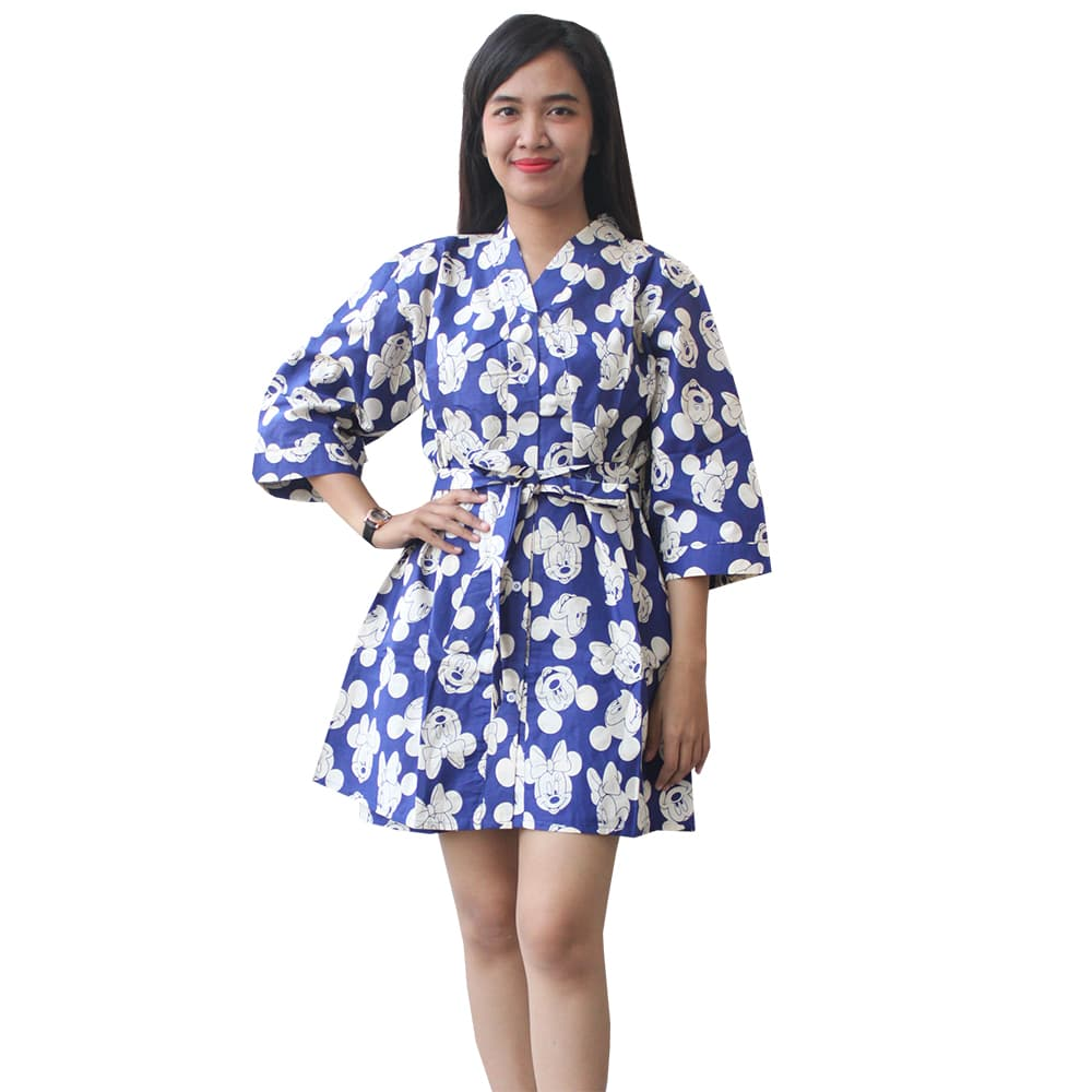 Jual Setelan Baju Tidur Kimono Wanita Katun Jepang Motif Mickey Anak Mikimouse Mouse Aj017