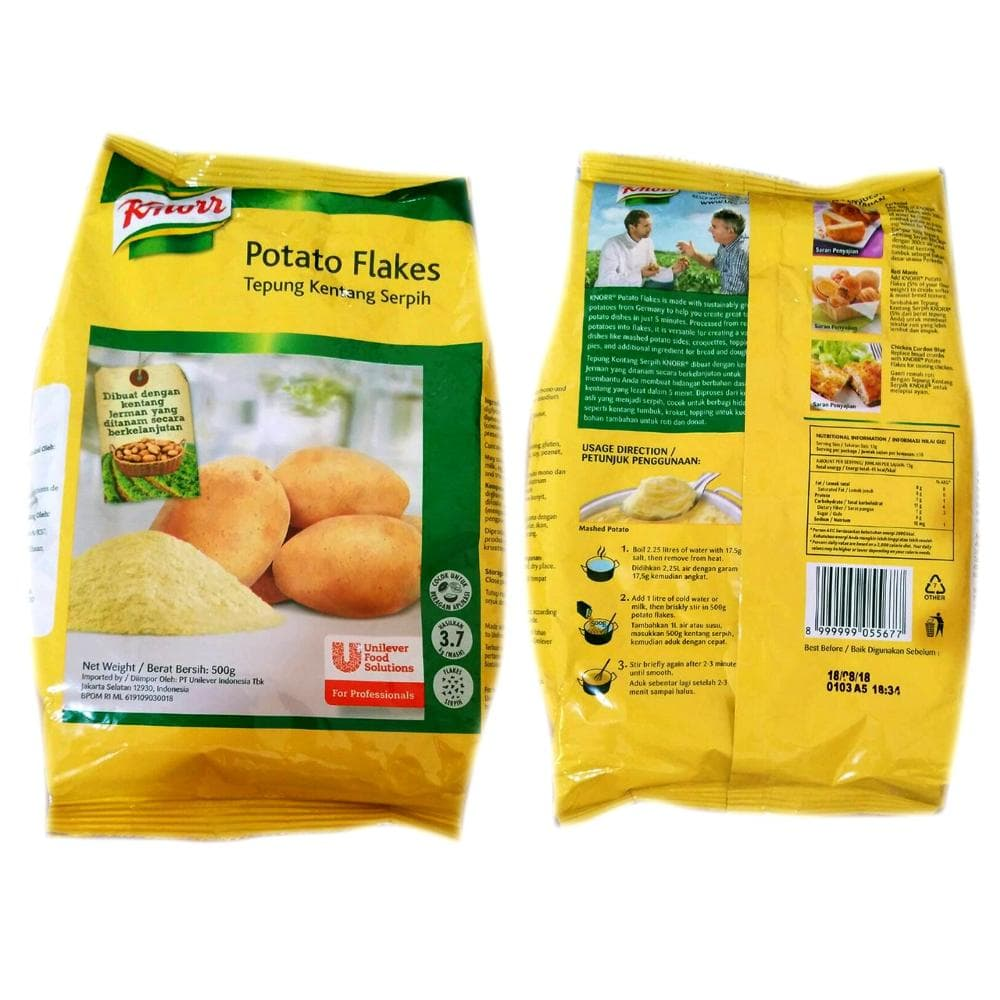Jual Knorr Mashed Potato Flakes Tepung Kentang Serpih 500gr Giogio Hot  Kunyit Asem 1 Ltr Sisters Tokopedia