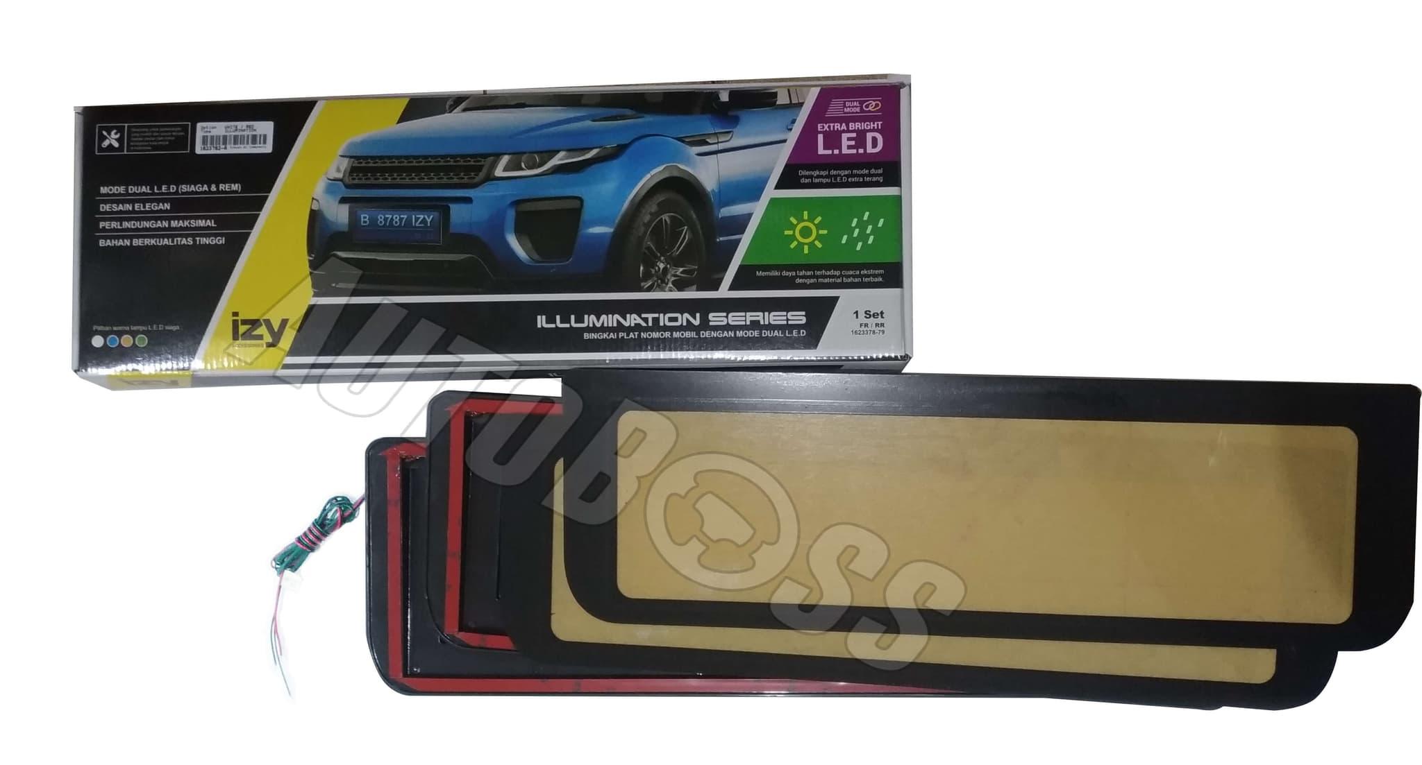 Jual Tatakan Frame Plat Nomor Terbaru 2014 Izy Led Set Auto Boss Cover Mobil Tokopedia