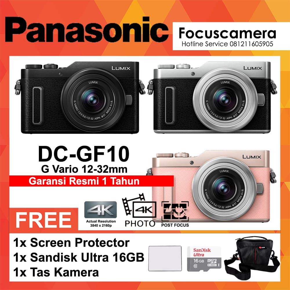 Jual Panasonic Lumix Dmc Gf10 Kit 12 32mm Screen Micro 16gb Dc Kamera Mirrorless Black Tas Hitam Focus Camera Tokopedia