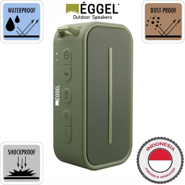 Eggel Active Waterproof Portable Bluetooth Speaker - Green - Blanja.com