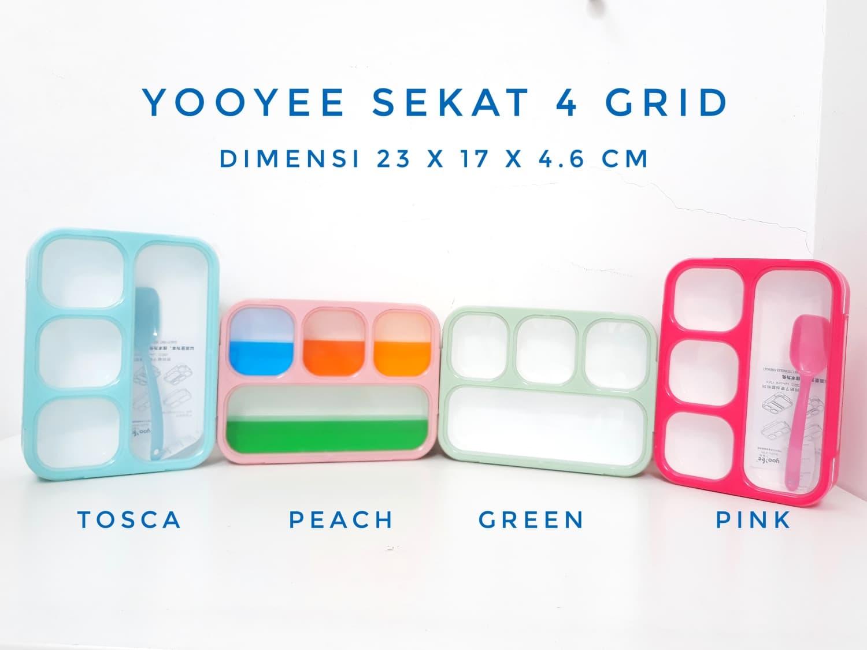 Jual Grosir Yooyee Kotak Makan Grid Bento Lunch Box 4 Sekat Anti New 578 Bekal Bocor Funplastik Tokopedia