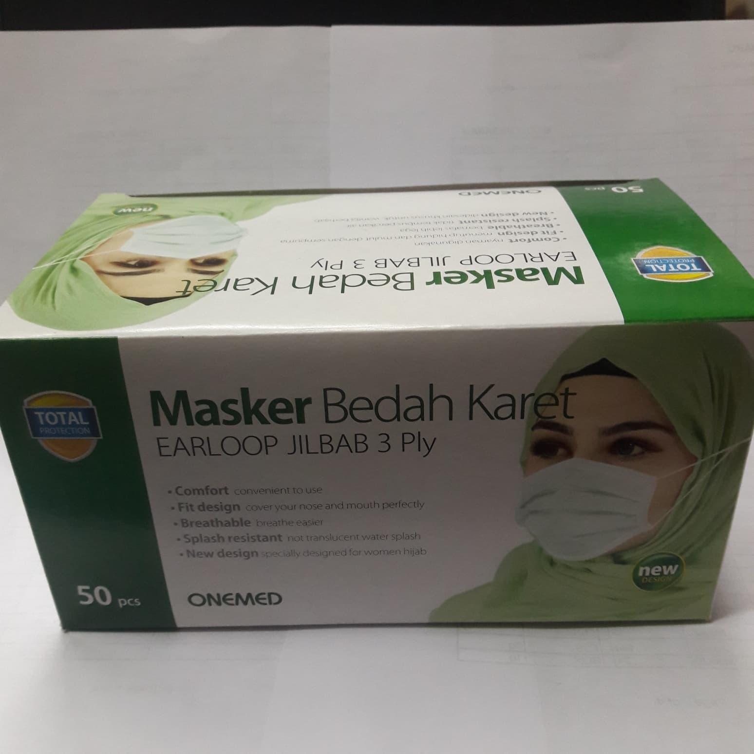 Jual Promo Masker Bedah Karet Hijau Hijab Jilbab Onemed Smithsonian Tokopedia