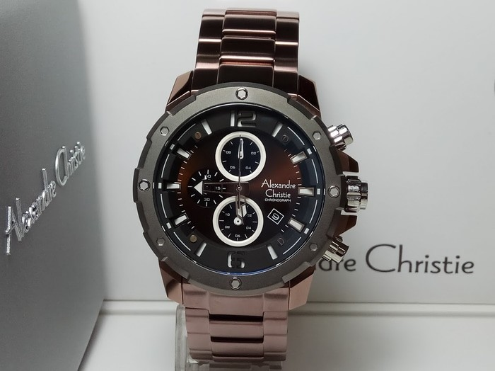 JAM TANGAN PRIA ALEXANDRE CHRISTIE AC 6410 BROWN STAINLESS ORIGINAL