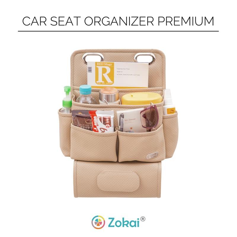 Car Seat Organizer Premium D'renbellony Tempat Penyimpanan Organiser Aksesoris Interior Jok Depan Mobil Khaki