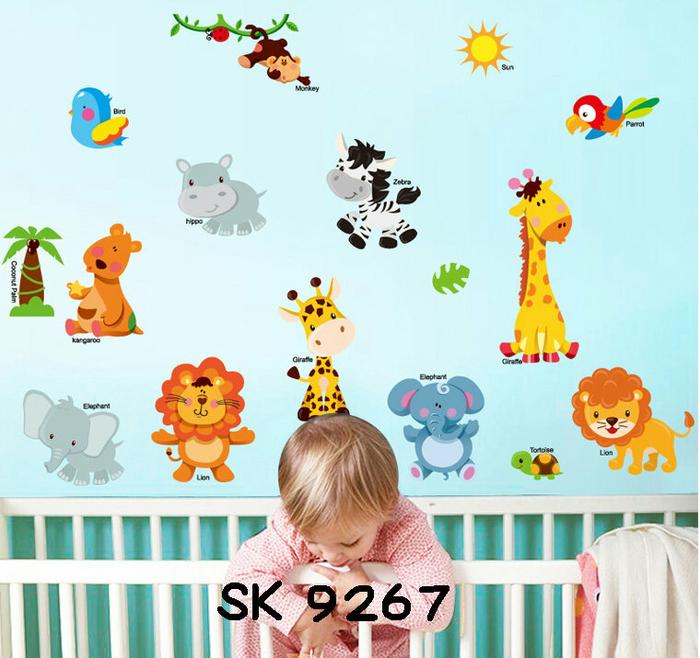 Stiker Dinding Hewan Binatang Hiasan Kamar Bayi Wall Sticker Animals