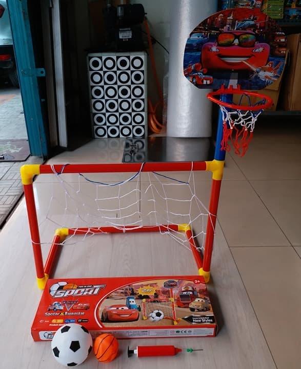 harga Mainan Gawang Sepak Bola Ring Basket Soccer Foot Ball Cars 2 In 1 Set Blanja.com