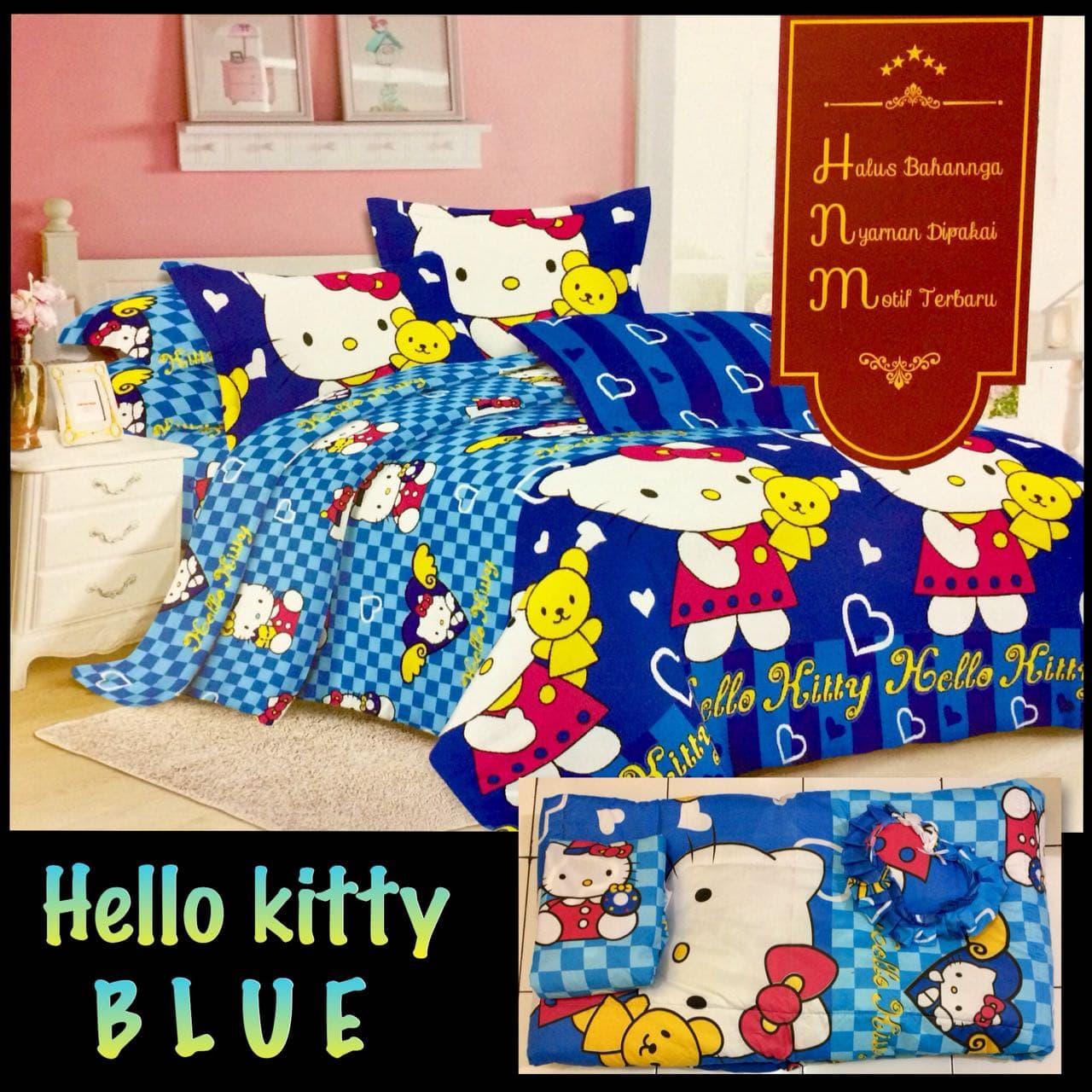 Jual Bed Cover Set Sprei Motif Hello Kitty Ukuran King Size Seprei 180x200 Hk