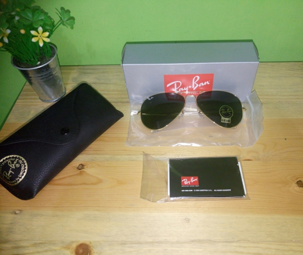 e86f8a63798 Jual Ray Ban Aviator RB 3026 L2846 Gold Frame G15 Green Lens Large ...