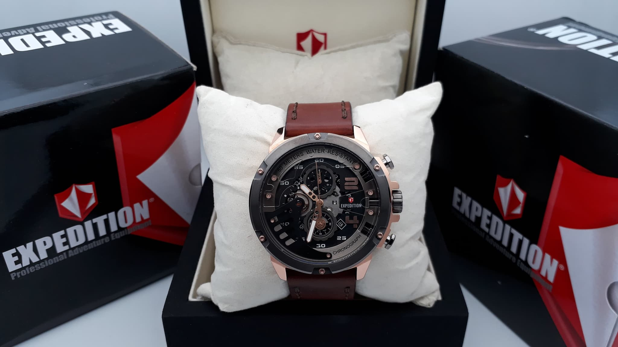 Jual Expedition E6700 Rose Gold Black Leather Brown For Men Original E6700m Chelli Watch Tokopedia
