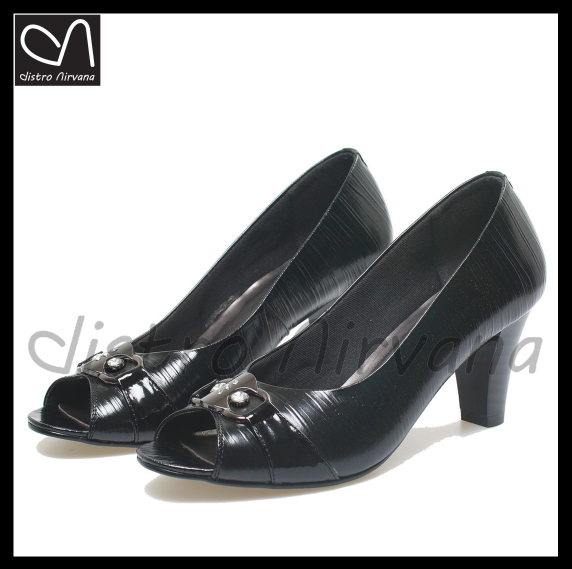 sepatu pantofel wanita formal kulit resmi high heels hitam kerja cewek d4756df977