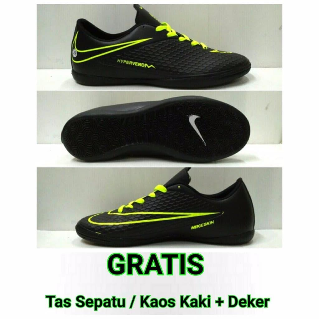 Jual Sepatu Futsal Nike Hypervenom GO Murah Hitam Hijau Gratis ... 763b32811a