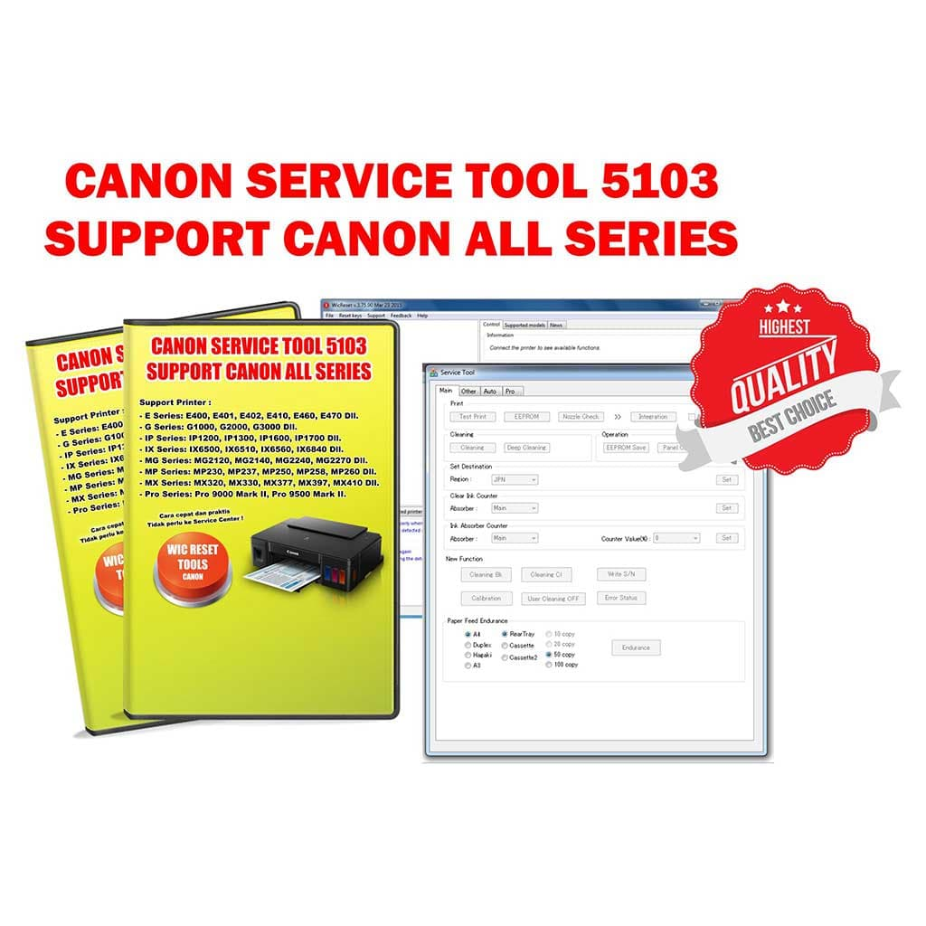 Jual WIC Waste Ink Pad Counter Resetter Canon Service Tool - Kota