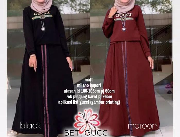 Setelan rok gucci baju kaos tunik blouse tunic skirt maxi panjang maxy 0f4e362b63