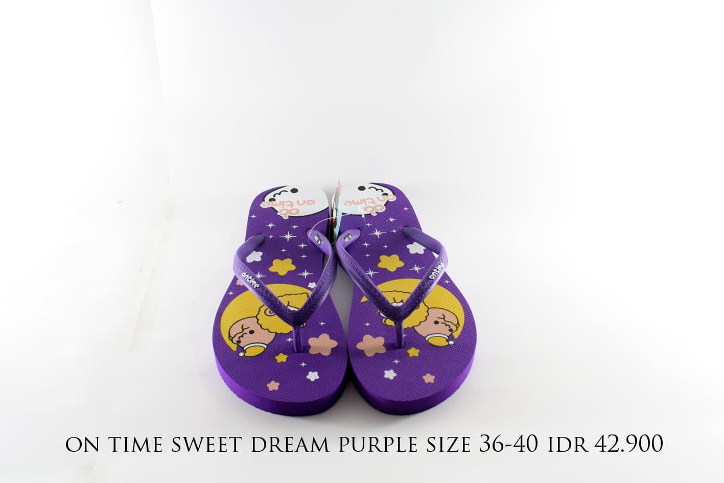 Jual on time sweet dream sandal jepit wanita ungu & merah - batikchiara   Tokopedia