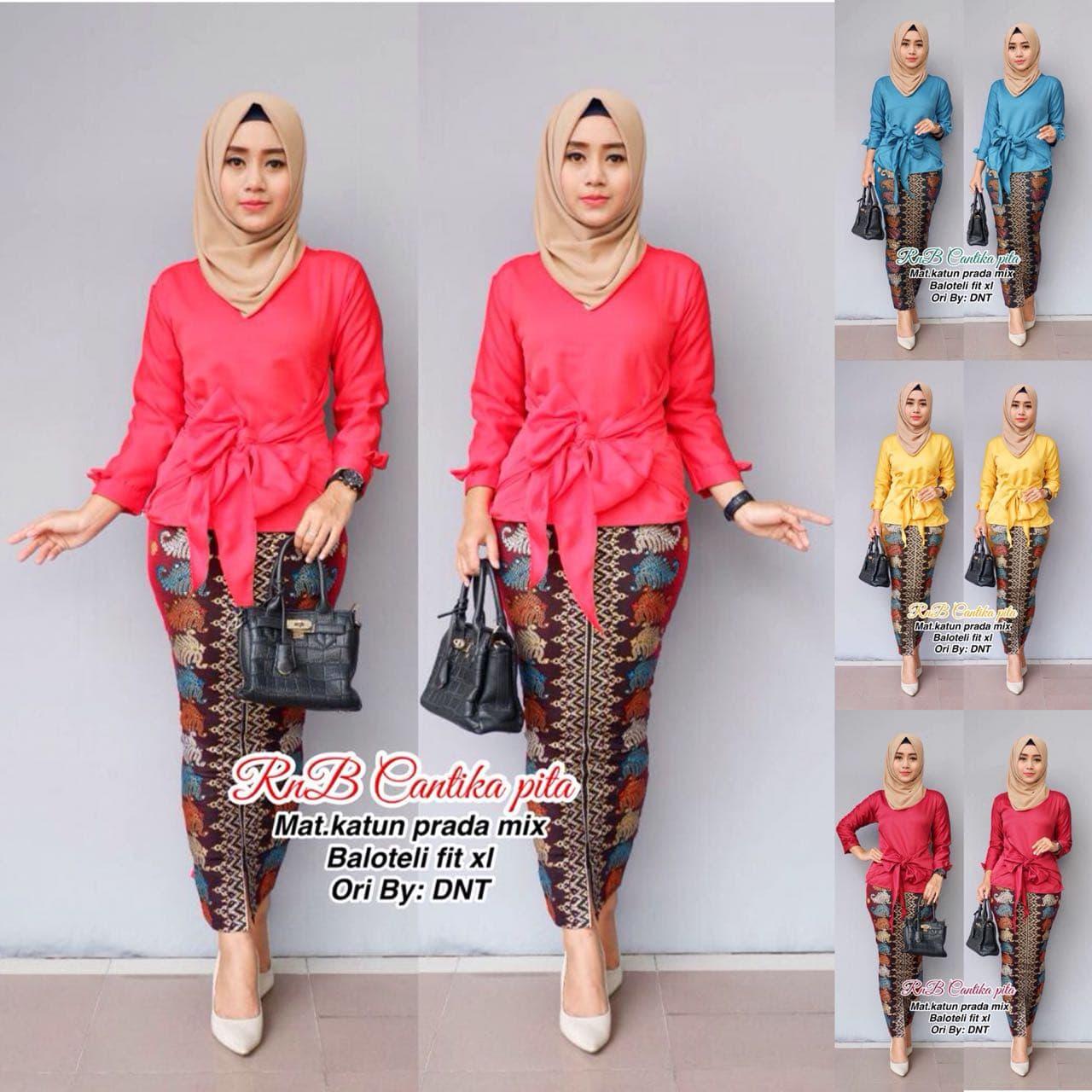 Rok dan Blus Cantika Pita, baju batik wanita kerja, batik murah modern