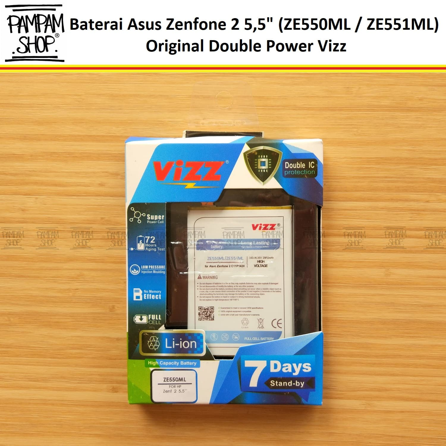 "Jual Baterai Vizz Double Power Asus Zenfone 2 5,5"" Inch ZE550ML Z00AD Batre - PAMPAM SHOP 