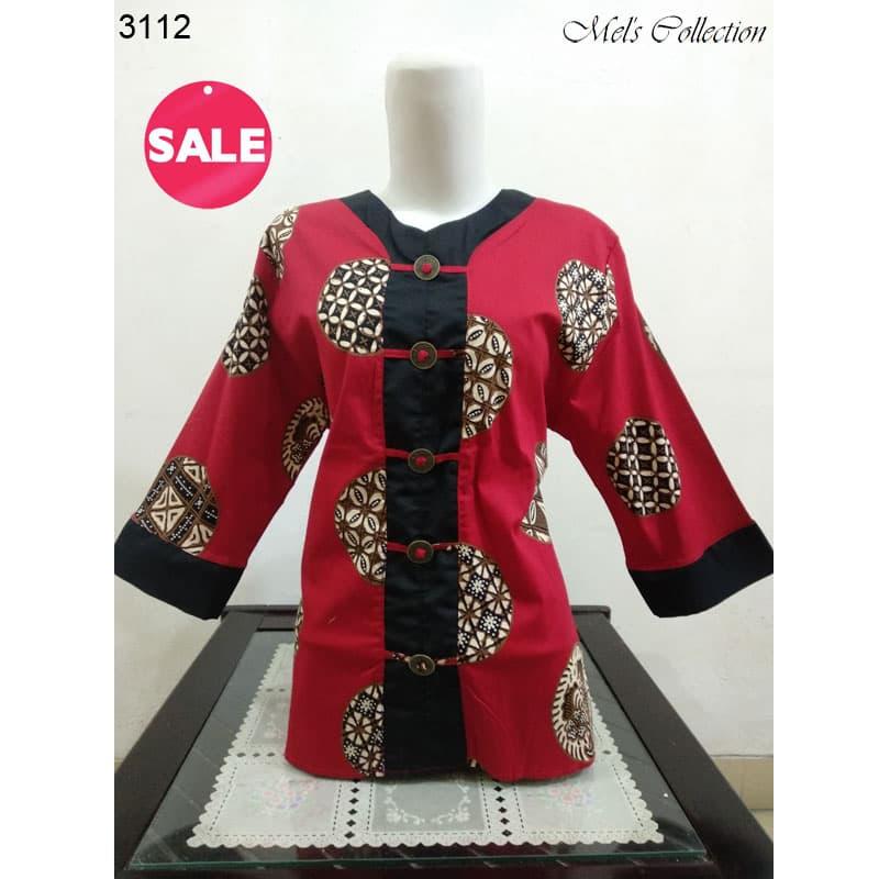 Atasan Blouse Batik Wanita Modern Fashion Lengan Panjang Merah
