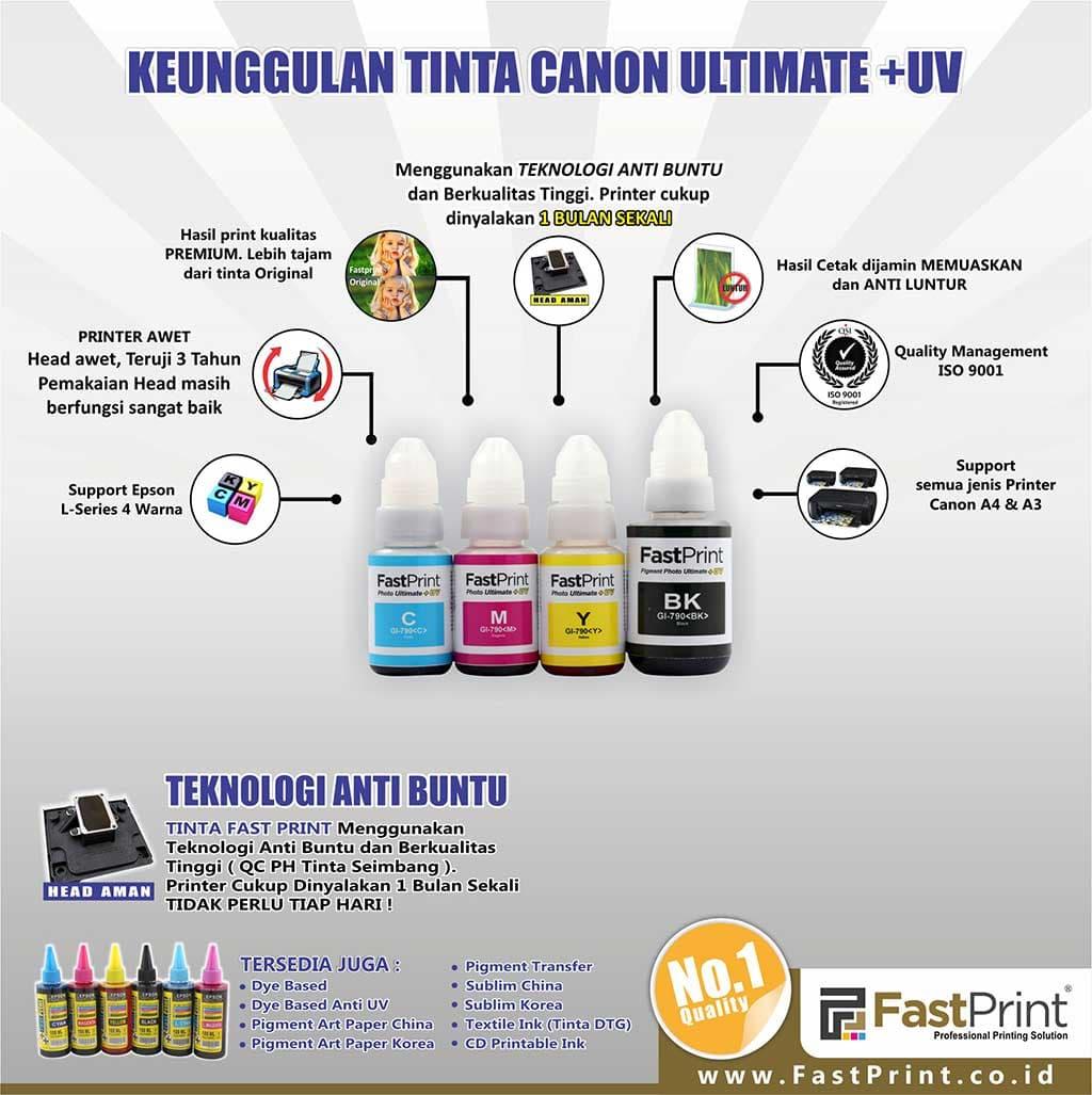 Jual Tinta Canon Gi 790 Pigment Ultimate Plus Uv G1000 G2000 Yellow G Series 70 Ml Fast Print Indonesia Tokopedia