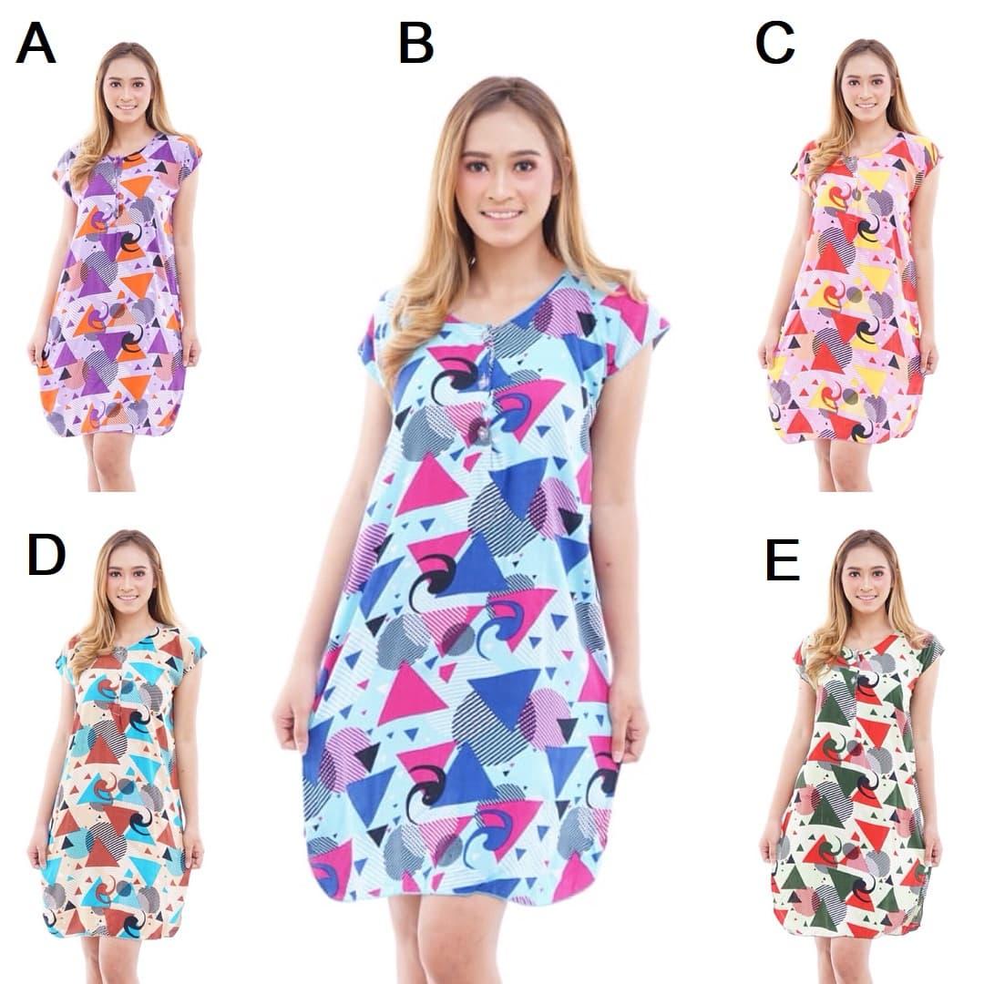 DPC490 Daster Motif Cerah Santung Dress Baju Tidur Wanita Murah