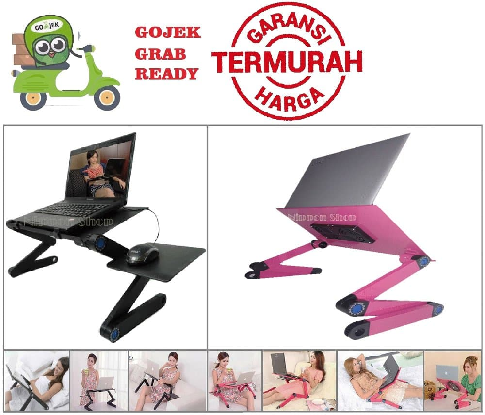 PENAWARAN BEST QUALITY Meja Laptop Portable Aluminium with cooler big fan  mouse 018414d67a