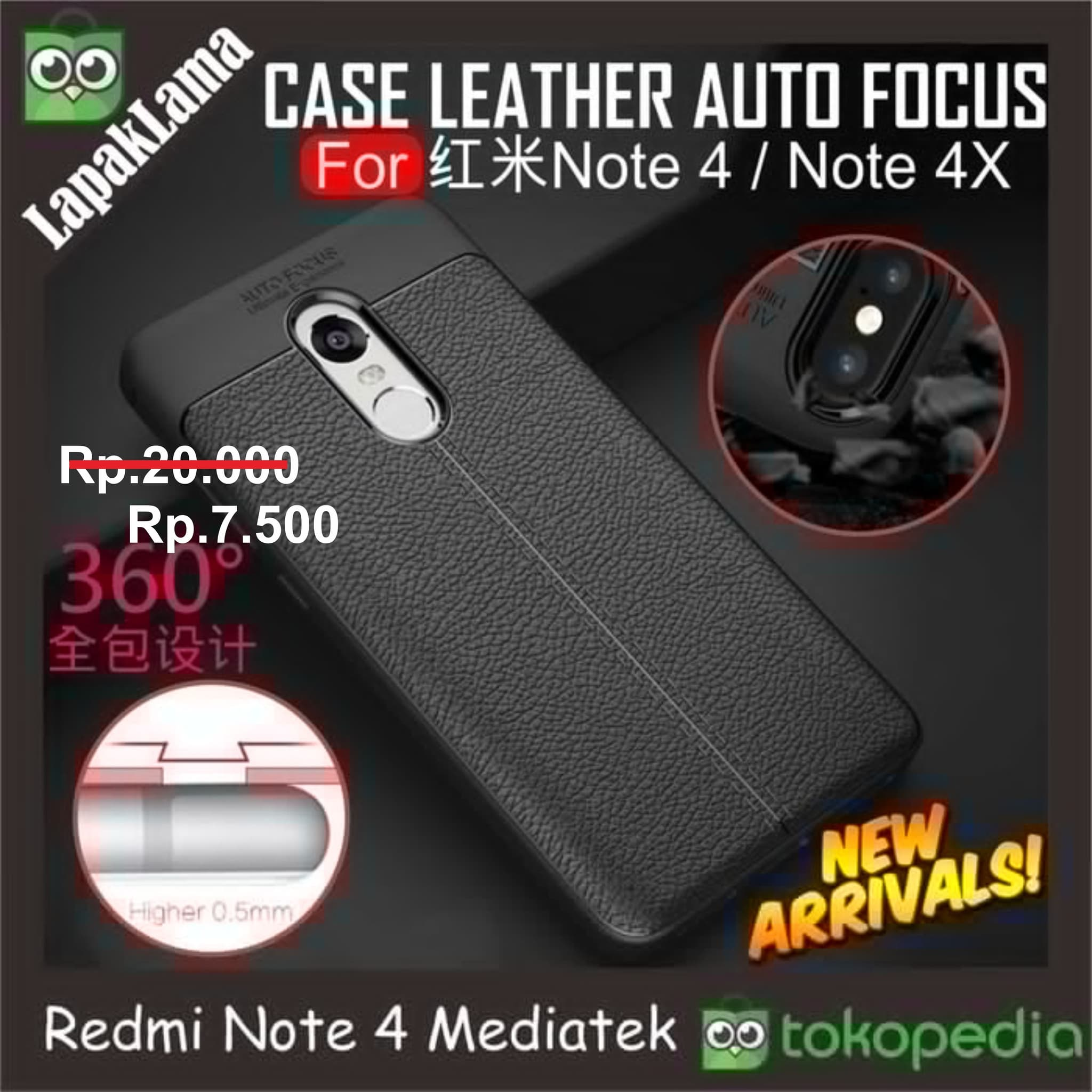 Jual Case Leather Auto Focus Original Xiaomi Redmi Note 4 Mediatek For Vivo Y81 Full Covered