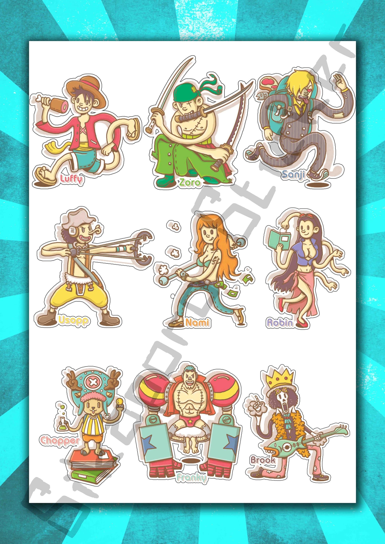 Jual sticker anime pack one piece mugiwara crew kota makassar sikaporo sticker tokopedia
