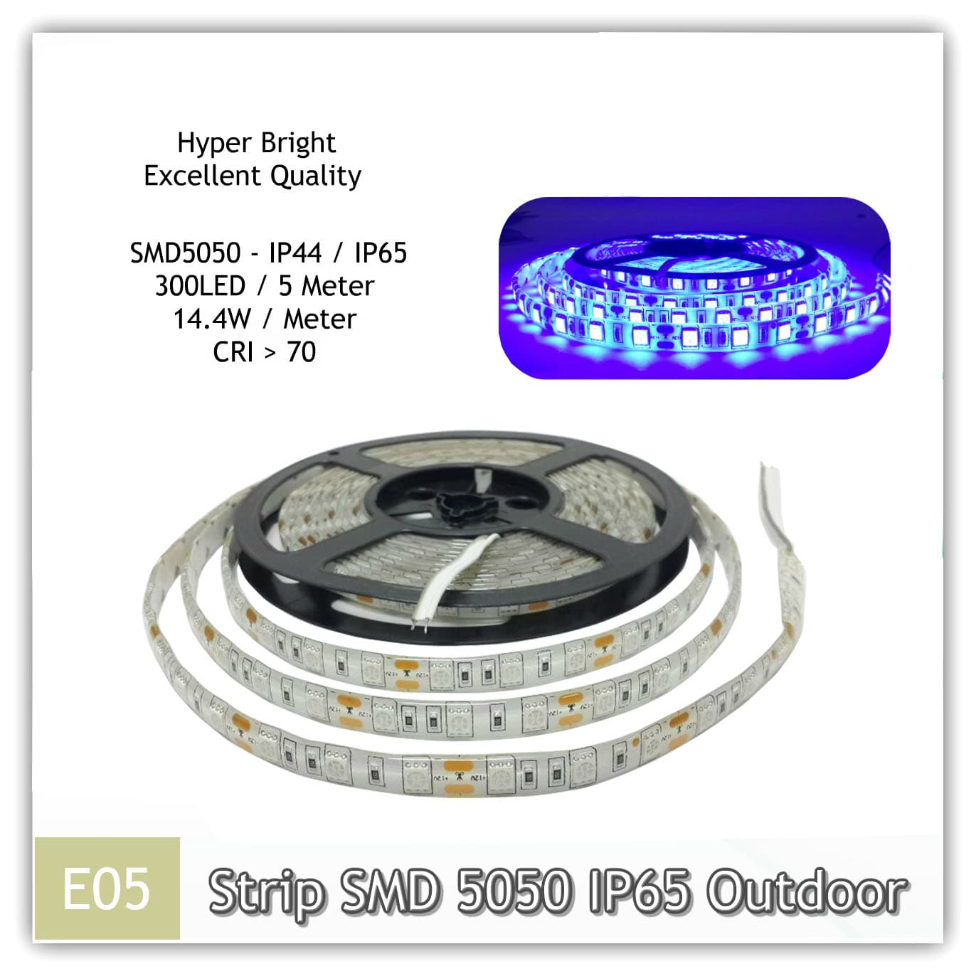 Jual Lampu LED STRIP SMD 5050 Outdoor IP65 / IP44 12V