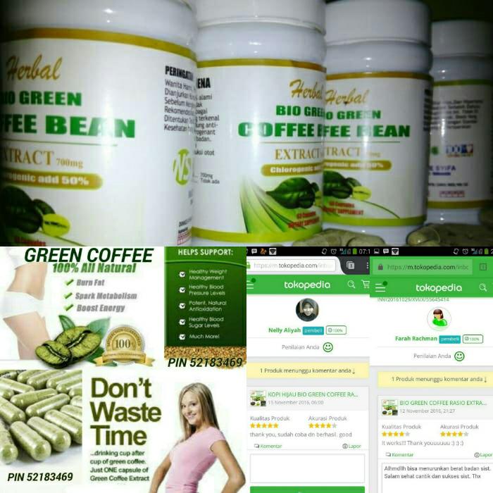 BIO GREEN COFFEE BEAN EKSTRAK KAPSUL KOPI HIJAU PELANGSING DIET 100CAP