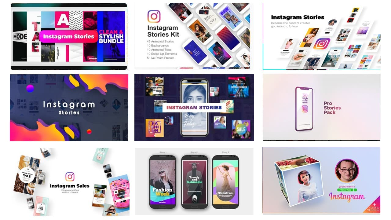 Paket Instagram Marketing InstaStories Video Template After Effect